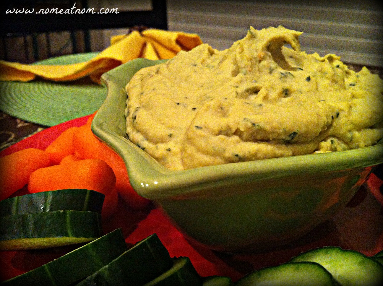 Red Lentil Basil Hummus close up with Effects