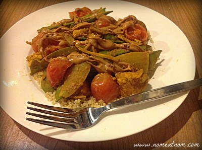 Spicy Ginger Peanut Stir Fry with Fork